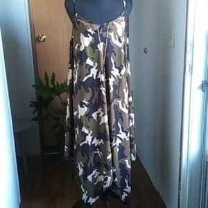 Camo Caftan Handkerchief Maxi-Dress